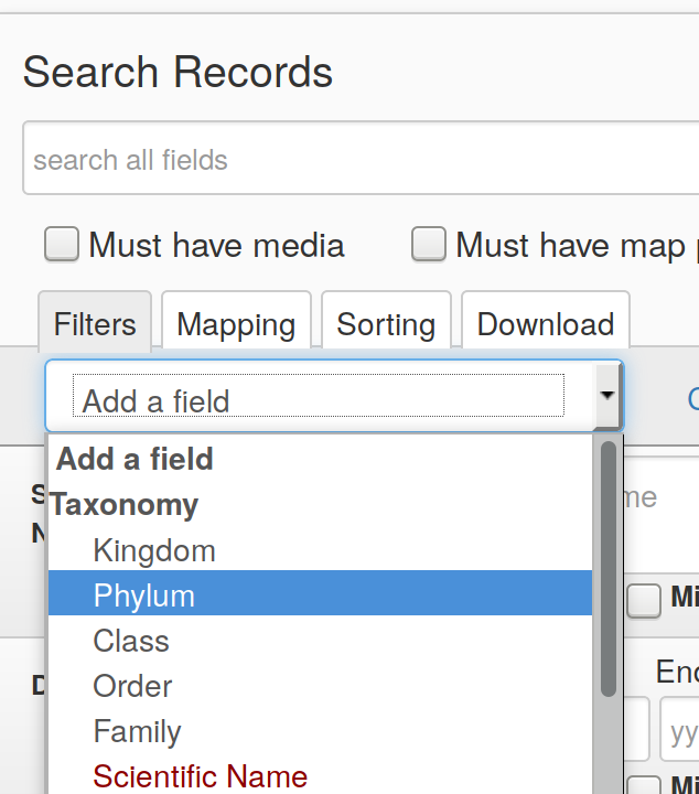 idigbio add phylum to search